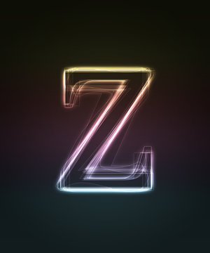 Glowing smal font. Shiny letter z (caps letter in my portfolio).