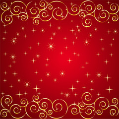 Red Background with Gold Lines