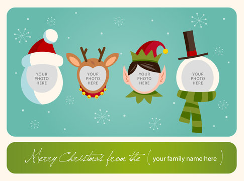 Christmas card. Place your photos on christmas characters.