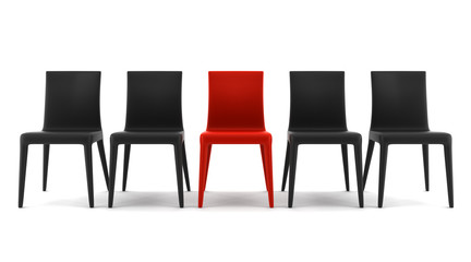 red chair among black chairs isolated on white background