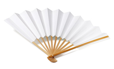 Traditional japanese fan isolated on white with clipping path