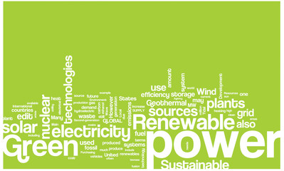 Green power word cloud