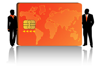 Illustration of banking card and people