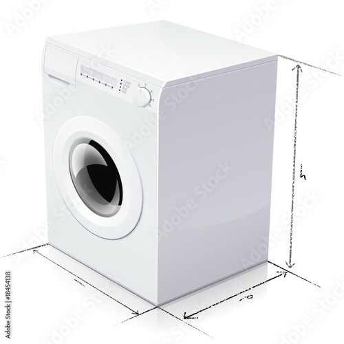 Dimension d 39 un lave linge reflet fichier vectoriel - Dimension d une machine a laver a hublot ...