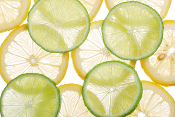Brighten citrus slices  on a white