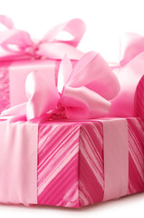 Pink gifts close-up