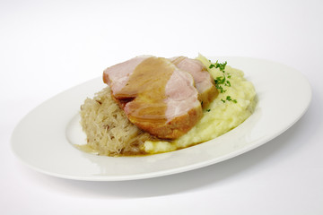 Kasselerbraten auf Sauerkraut,Kartoffelpüree