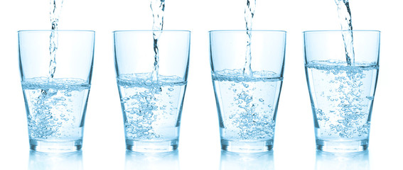 Water pouring into glasses. Set of different pictures