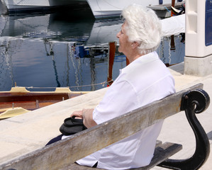 old woman on a bench