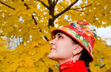 portrait of young woman in autumn forest