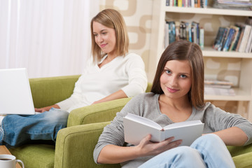 Students - Two female teenager studying