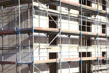 Hochbau Hausbau, Baugerüste, Hausfassade, Rohbau