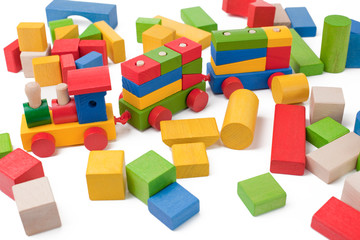 Colorful toy train and toy blocks