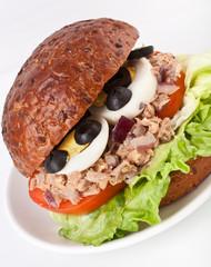 Mediterranean tuna and egg sandwich on a whole wheat bun