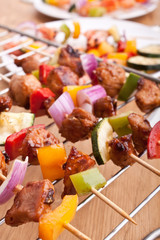 colorful vegetable and meat grilled kebabs
