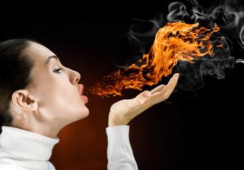 Poster Vlam fire woman