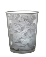 trash can full of paper isolated on white
