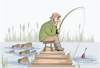 Unhappy fisherman at the fishing.