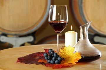 rotwein im glas mit dekanter
