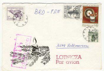 Vintage grungy christmas air mail envelope from poland