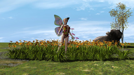 butterfly fairy among the flowers