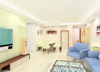 a white tone living room design