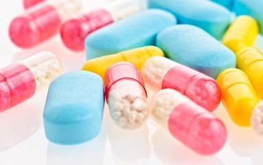 medical pills and tablets background