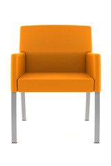 orange armchair isolated on white background with clipping path