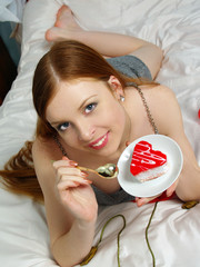 Close up portrait nice girl with cake