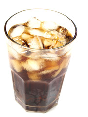 Glass of cola on white background