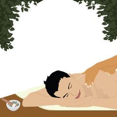 man having an ayurvedic massage, white background