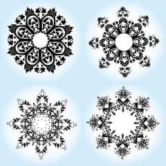 Vector illustration of Christmas snowflake ornament pattern.