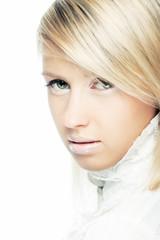 fashion blonde girl face lips
