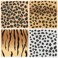 Animal   patterns of tiger and leopard.