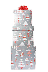 Stack of Christmas Gift Boxes Topped Up with a Red Bow