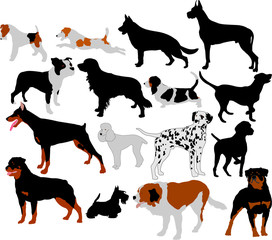 dogs collection vector silhouettes