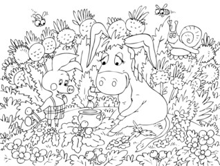 Piglet and Donkey sitting on the lawn