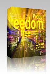 Freedom word cloud glowing box package