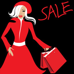 Stylish woman in red with purchases. Shopping. Sale