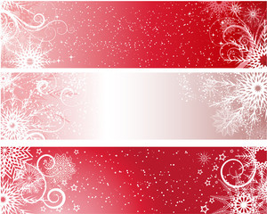 red winter banners