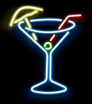 Neon Cocktail Glass