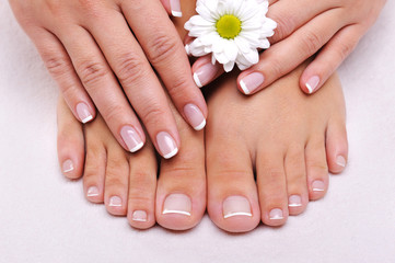 Poster de jardin Manicure Skincare of a beauty female feet