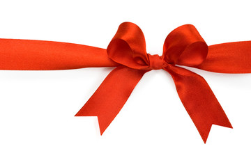 Beautiful red bow on white background