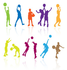 Silhouettes of children jumping and playing basketball.