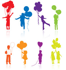 Colored reflecting silhouettes of children with balloons.