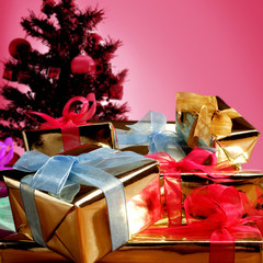 an image of giftboxes with christmas tree