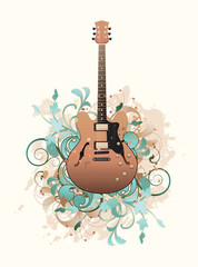 Floral abstract with guitar