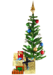 Christmas and New Year Tree with gift box.