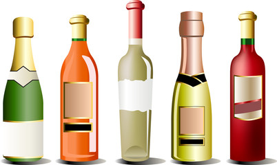 A set of realistic vector bottles of alcohol