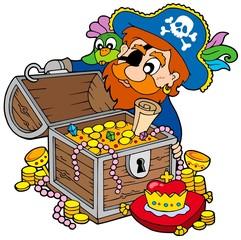 Foto op Canvas Piraten Pirate opening treasure chest